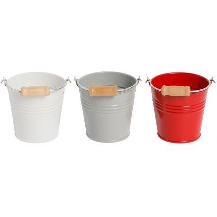 Little Metal Buckets, 3 Assorted 8cm