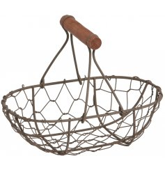 A Wire Oval Basket With Wooden Handle