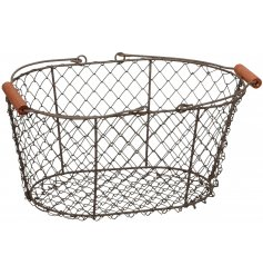 A grey wire basket with double handles