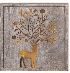 A charming woodland style LED light box with a decorative reindeer/tree design.