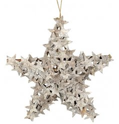 A distressed inspired hanging star decoration, complete with miniature stars all over it.