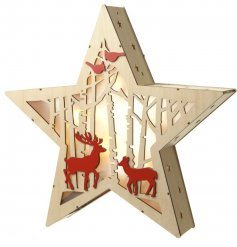 A natural toned wooden star with a woodland inspired scene and fitted LED lights