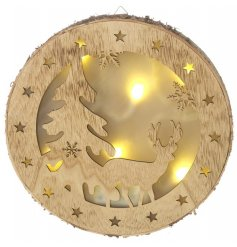 Bring home a sense of the wild with this beautiful natural toned wooden wall plaque with added LEDs