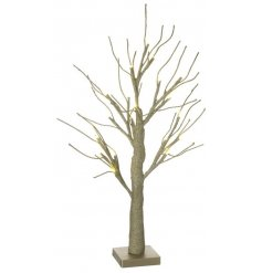 A beautifully glam inspired LED twig tree, covered in golden glitter