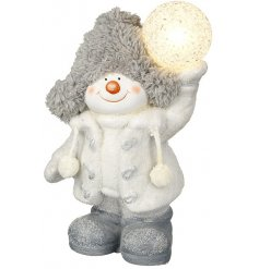 An adorable standing snowman figure with a fitted LED ball
