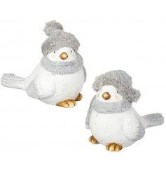 An adorable duo of winter themed terracotta birds