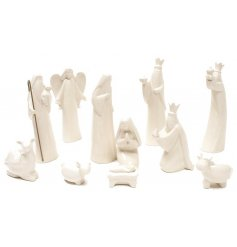 A beautifully simple display of nativity scene characters