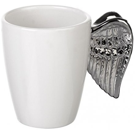 Silver Winged Ceramic Mug