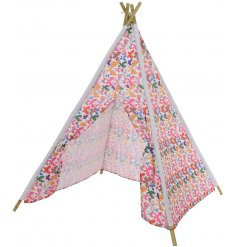 Create your own adventures with this stylish teepee play tent with bamboo poles.