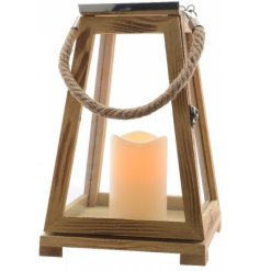 A stylish natural toned wooden beach lantern with artificial LED candle included