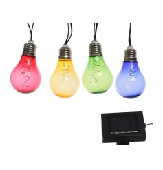 Add a retro feel to your garden with these funky and colourful string of LED bulbs