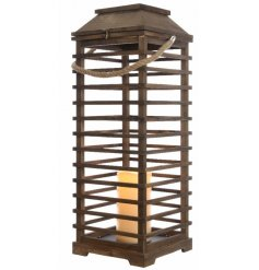 A beautiful zen garden inspired lantern, complete with a fixed flickering LED candle
