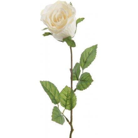 Silk White Rose 45cm