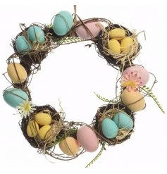 A beautiful and unique decorative wreath perfect for the upcoming easter season.