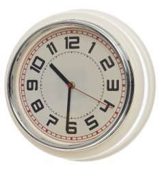A white plastic retro clock
