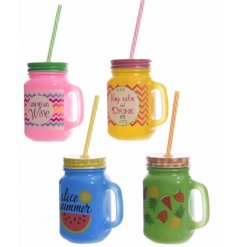 Fun and colourful tropical inspired glass drinking jars
