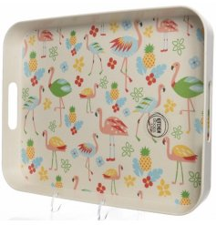 Bring a fun tropical feel to your kitchenware with this quirky flamingo themed dining tray