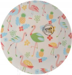 A funky flamingo themed plate made from recycled bamboo