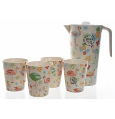 Bring a fun tropical feel to your kitchenware with this quirky flamingo themed jug and cups