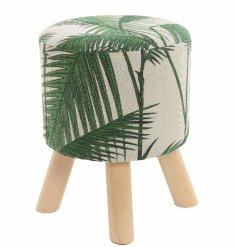 Add a greenery vibe to your home with this chic fabric foot stool