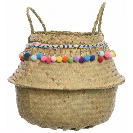 Seagrass Storage Basket With Pompoms