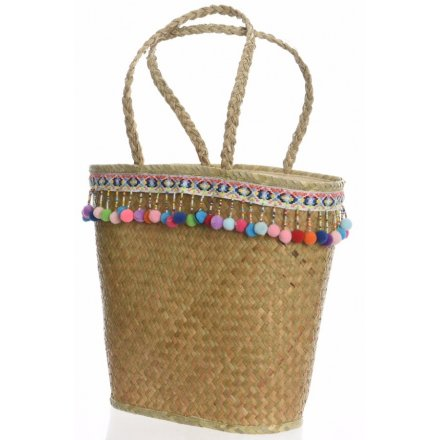 Sea Grass Shopper Bag With Pompoms