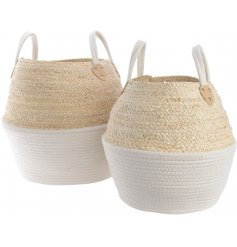 Set of 2 beehive shaped baskets in natural and white