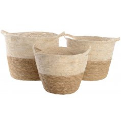 Set of 3 straw baskets with handles