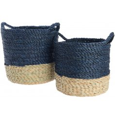 Set of 2 tall natural & blue cornleaf baskets