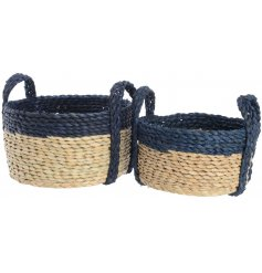 Set of 2 small natural & navy cornleaf baskets