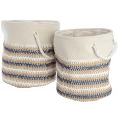 Set of 2 cream and blue tall canvas baskets
