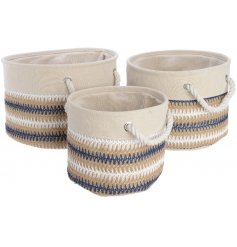 Set of 3 cream and blue canvas baskets