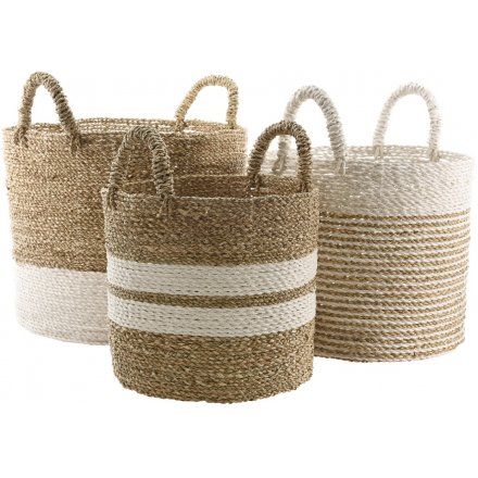 Round Seagrass Baskets Set of 3