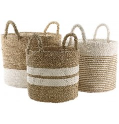 Set of 3 round stripy seagrass baskets