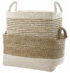 Set of 2 stripy seagrass baskets