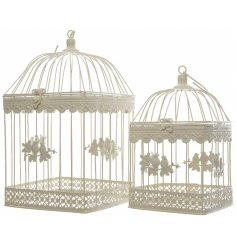 Set of 2 cream iron birdcages