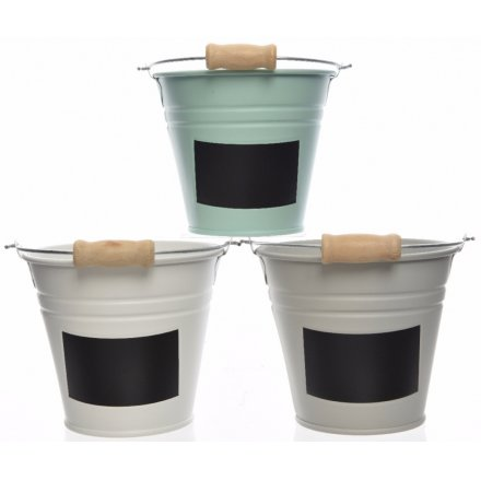 Buckets With Chalkboard Labels, 3 Assorted 16cm
