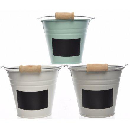 Medium Buckets With Chalkboard Label, 3 Assorted 14cm