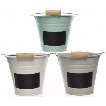 Small Buckets With Chalkboard Label, 3 Assorted 11cm