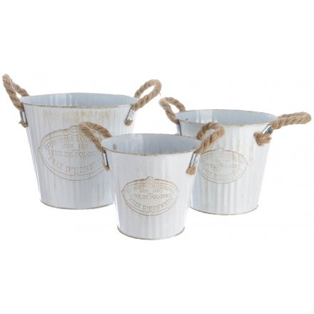 White Rustic Corrugated Buckets Set of 3