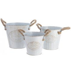 Set of 3 white zinc buckets with rope handles