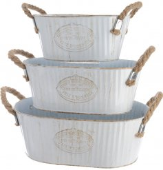 Set of 3 White Oval Buckets With Rope Handles