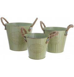 Set of 3 Zinc Buckets With Rope Handles