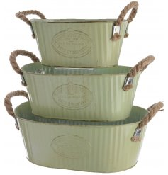 Set of 3 Zinc oval Buckets with Rope Handles