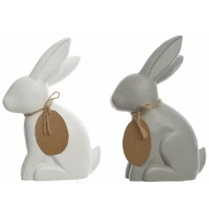 Add a simple yet chic touch to any home with these white and grey toned MDF bunnies
