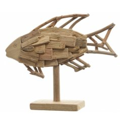 Bring a nautical touch to your home displays with this stylish driftwood fish on a stand
