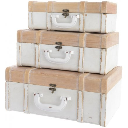Distressed Stacking Suitcases Set of 3