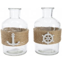 Bring a touch of the coastal life to your home or display with these nautical inspired decorative bottles