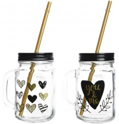 Spread the love in your home with these black and gold chic drinking mason jars