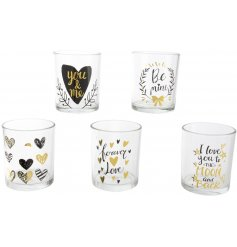 These 5 assorted candle holders will produce a chic loving feel to any space